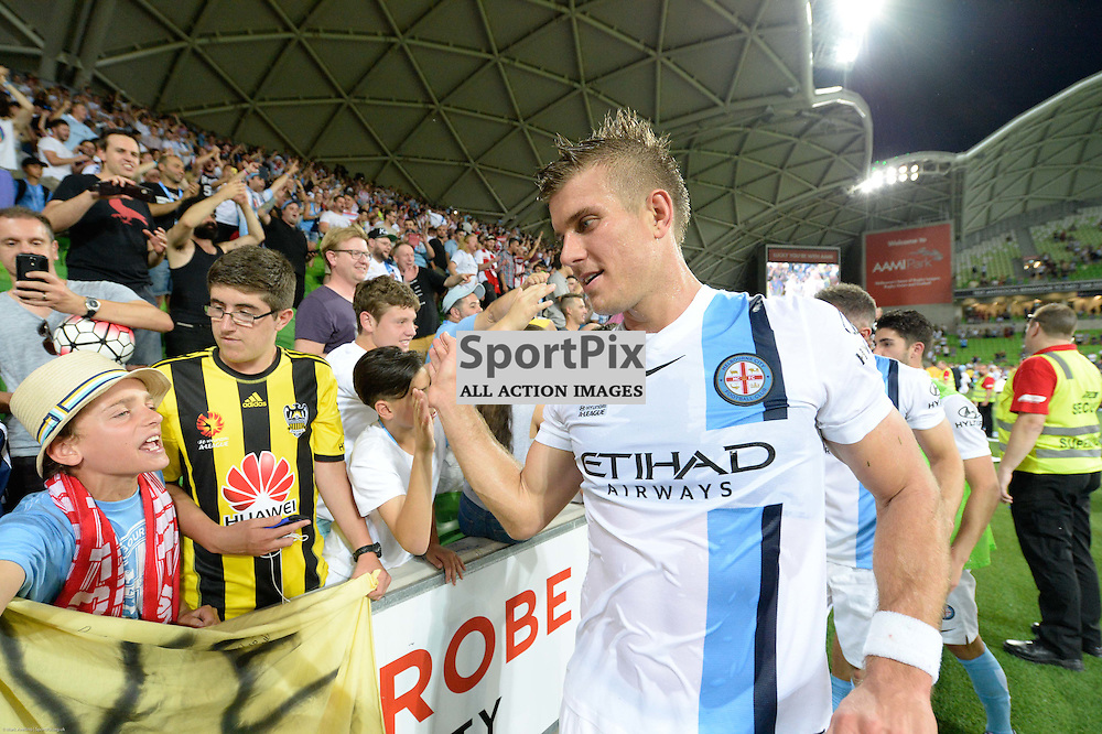 Erik Paartalu of Melbourne City with elated fans at the end of the Hyundai A-League, 19th December 2015, RD11 match between Melbourne City FC v Melbourne Victory FC at Aami Park in a 2:1 win to City in front of a 23,000+ crowd. Melbourne Australia. © Mark Avellino | SportPix.org.uk