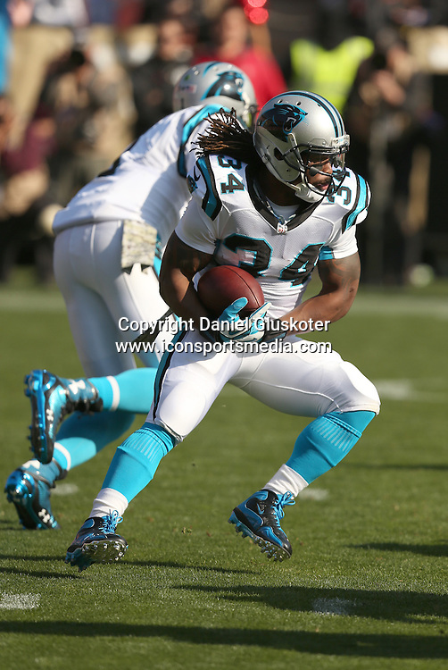 10 November 2013: Carolina Panthers kick returner Ted Ginn Jr during action in an NFL game against the Niners at Candlestick Park in San Francisco, CA. The Panthers won 10-9.