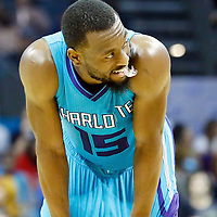 01 November 2015: Charlotte Hornets guard Kemba Walker (15) rests during the Atlanta Hawks 94-92 victory over the Charlotte Hornets, at the Time Warner Cable Arena, in Charlotte, North Carolina, USA.