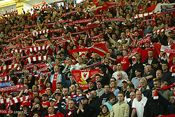 CARDIFF, WALES - Sunday, March 2, 2003: Liverpool fans celebrate beating Manchester United 2-0 during the Football League Cup Final at the Millennium Stadium. (Pic by David Rawcliffe/Propaganda)