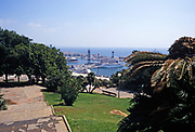 View from above of cruise ships in harbour at city of Barcelona, Catalonia, Spain in 1999
