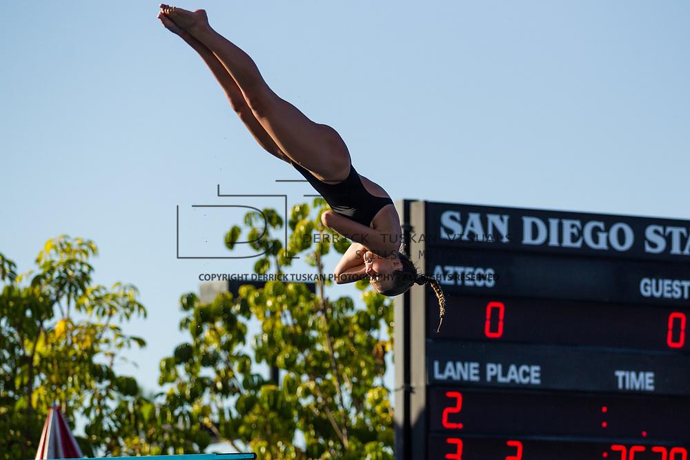 01 December 2017:  The San Diego State women's swim and dive team competes against UCSD and Pepperdine at the SDSU Aquaplex.<br /> www.sdsuaztecphotos.com