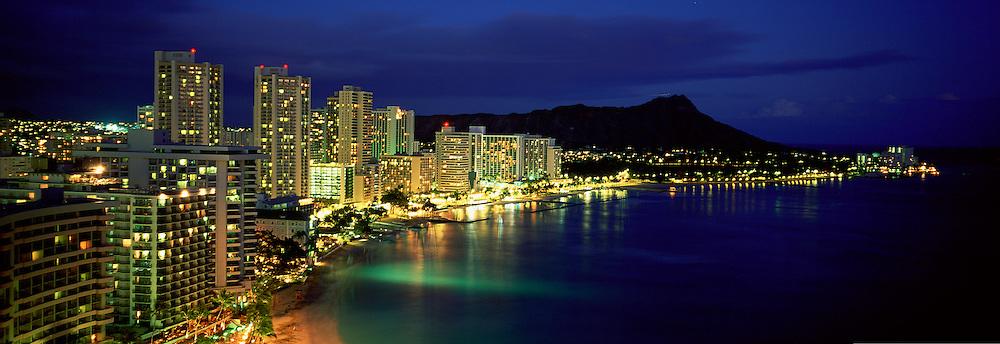 Waikiki at night, Oahu, Hawaii<br />