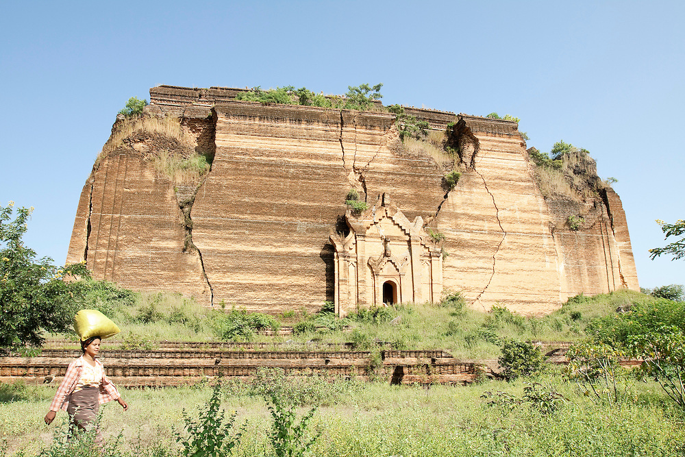 The brick constructed base of the unfinished Mingun Paya near Mandalay in Myanmar. Had the stupa been finished it would have been the largest pagoda in Burma but even the brick base of it remains the largest single pile of bricks in the world.