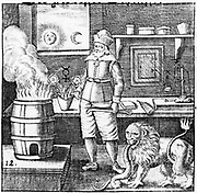 Twelfth Key of Basil Valentine, illustrating that Philosophers' Stone must be combined with gold to produce new gold, just as lion eats serpent to change it into its own substance. Engraving from Basil Valentine 'Von dem gross Stein Uhralten' Strasbourg 1651.