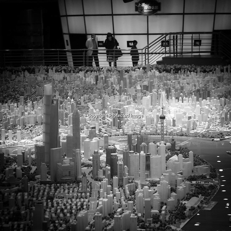 China, Shanghai.  People Square, urban planing exhibition hall,  Master plan of idealised future, Model lay out