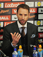 Football - 2016 / 2017 season - new England manager Gareth Southgate, first press conference<br /> <br /> England manager Gareth Southgate speaks to the press, at Wembley.<br /> <br /> COLORSPORT/ANDREW COWIE
