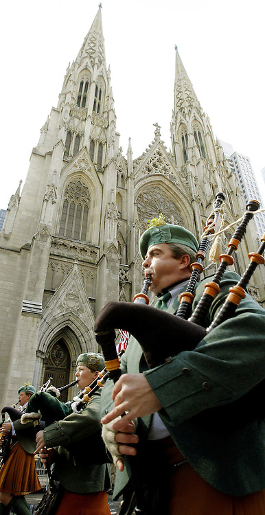 Bagpipers march past St. Patrick's Cathedral during the 246th annual St. Patrick's Day parade in New York, York on Saturday 17 March 2007. The annual event is the largest St. Patrick's Day Parade in the world.