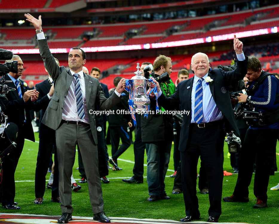 11th May 2013 - The FA Cup Final  - Manchester City v Wigan Athletic - Wigan Chairman, Dave Wheelan celebrates with the FA Cup alongside Roberto Martinez - Photo: Marc Atkins / Offside.