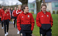 CARDIFF, WALES - Thursday, April 4, 2019: Wales' Hayley Ladd (L) and Chloe Lloyd during a pre-match team walk at the Vale Resort ahead of an International Friendly match between Wales and Czech Republic at Rodney Parade. (Pic by David Rawcliffe/Propaganda)