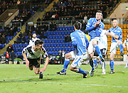 St Johnstone&rsquo;s Joe Shaughnessy blocks Dundee&rsquo;s Thomas Konrad's header - St Johnstone v Dundee, Ladbrokes Scottish Premiership at McDiarmid Park<br /> <br />  - &copy; David Young - www.davidyoungphoto.co.uk - email: davidyoungphoto@gmail.com