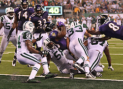 Sept 13, 2011; East Rutherford, NJ, USA; Baltimore Ravens running back Willis McGahee (23) runs for a touchdown during the first half at the New Meadowlands Stadium. The Ravens lead the Jets 7-6 at the half.
