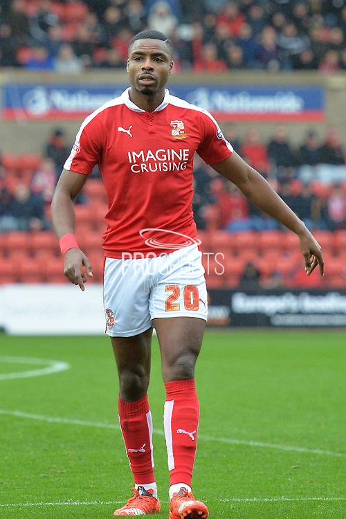 Swindon Town striker Jonathan Obika during the Sky Bet League 1 match between Swindon Town and Scunthorpe United at the County Ground, Swindon, England on 14 November 2015. Photo by Mark Davies.