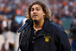 April 11, 2011; San Francisco, CA, USA;  Jamieson Lindenburg sings the national anthem before the game between the San Francisco Giants and the Los Angeles Dodgers at AT&T Park.  Los Angeles defeated San Francisco 6-1.