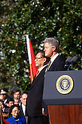 U.S. President Bill Clinton and Chinese Premier Jiang Zemin stand for the national anthems during a State Arrival ceremony on the South Lawn of the White House October 29, 1997 in Washington, DC.
