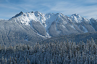 Nooksack Ridge in winter seen from Mount Baker Highway, North Caascades Washington