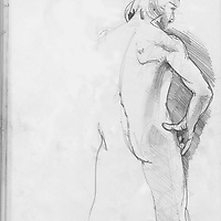 Sketchbook drawing of young naked man
