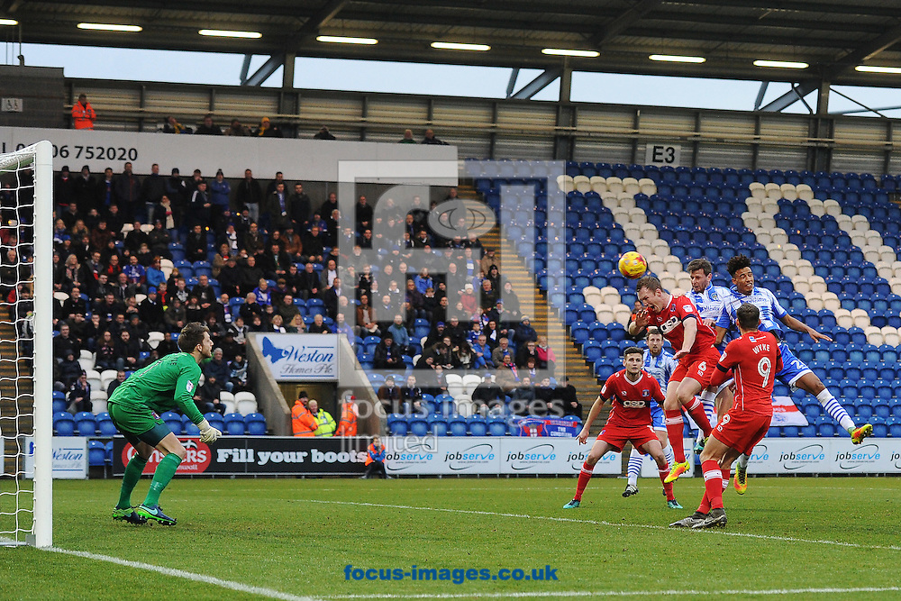 Chris Porter of Colchester United scores his sides first goal to make the scoreline 1-0 during the Sky Bet League 2 match between Colchester United and Carlisle United at the Weston Homes Community Stadium, Colchester<br /> Picture by Richard Blaxall/Focus Images Ltd +44 7853 364624<br /> 07/01/2017