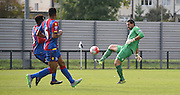 Julian Speroni clears the danger during the Final Third Development League match between U21 Crystal Palace and U21 Coventry City at Selhurst Park, London, England on 12 October 2015. Photo by Michael Hulf.