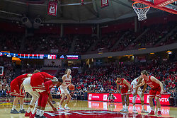 NORMAL, IL - February 16: Matt Chastain lines one up while standing at the charity stripe during a college basketball game between the ISU Redbirds and the Bradley Braves on February 16 2019 at Redbird Arena in Normal, IL. (Photo by Alan Look)