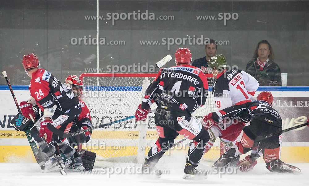 16.09.2016, Tiroler Wasserkraft Arena, Innsbruck, AUT, EBEL, HC TWK Innsbruck Die Haie vs HCB Suedtirol Alperia, 1. Runde, im Bild Goal zum 3:5, Florian Pedevilla (HCI), Daniel Mitterdorfer (HCI), Dennis Kearney (Bozen) // Goal zum 3:5 Florian Pedevilla (HCI) Daniel Mitterdorfer (HCI) Dennis Kearney (Bozen) during the Erste Bank Icehockey League 1st Round match between HC TWK Innsbruck Die Haie and HCB Suedtirol Alperia at the Tiroler Wasserkraft Arena in Innsbruck, Austria on 2016/09/16. EXPA Pictures © 2016, PhotoCredit: EXPA/ Johann Groder