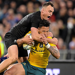 Israel Folau of the Wallabies is tackled by Israel Dagg of the All Blacks during the Investec Rugby Championship match between the New Zealand All Blacks and the Australia Wallabies at Westpac Stadium in Wellington, New Zealand on Saturday, 27 August 2016. Photo: Marco Keller / www.lintottphoto.co.nz