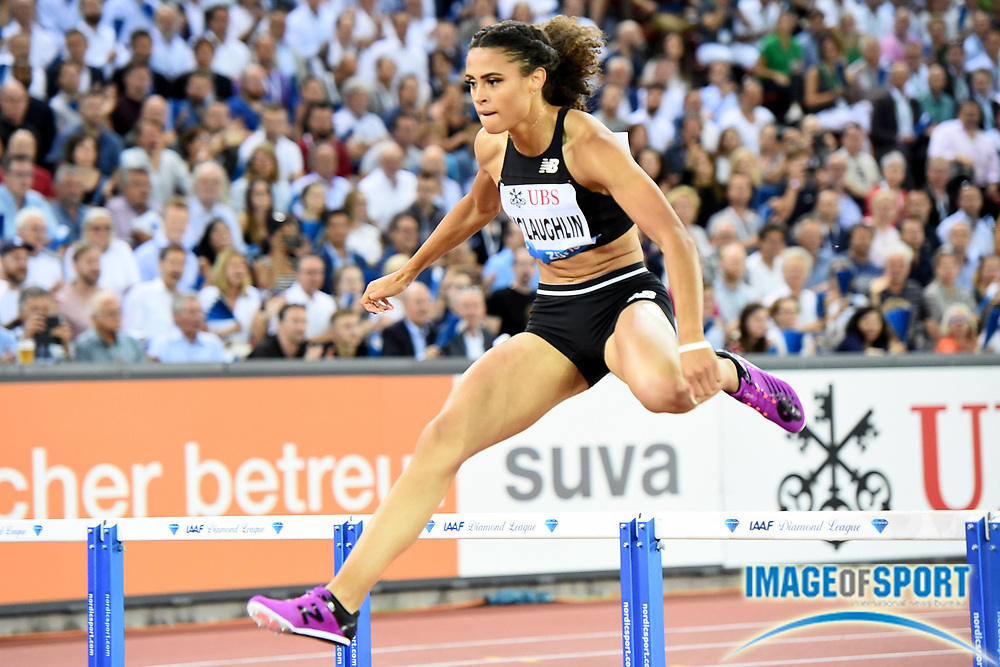 Sydney McLaughlin (USA) wins the  women's 400m hurdles in 52.85 in the IAAF Diamond League final during the Weltkasse Zurich at Letzigrund Stadium, Thursday, Aug. 29, 2019, in Zurich, Switzerland. (Jiro Mochizuki/Image of Sport)