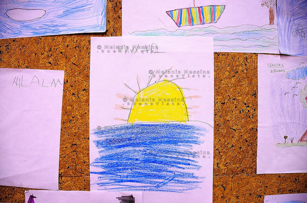 Palermo, headquarters of Emergency: kids drawings.<br /> Palermo, locali dell'ambulatorio di Emergency: i disegni dei bambini.