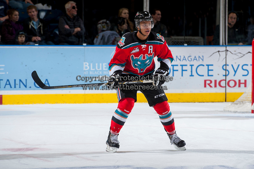 KELOWNA, CANADA - OCTOBER 4:  Madison Bowey #4 of the Kelowna Rockets stands on the ice against the Portland Winterhawks  at the Kelowna Rockets on October 4, 2013 at Prospera Place in Kelowna, British Columbia, Canada (Photo by Marissa Baecker/Shoot the Breeze) *** Local Caption ***