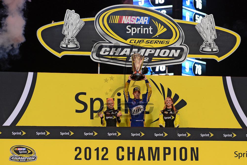 Homestead, FL - Nov 18, 2012: Brad Keselowski (2) reacts after winning the 2012 Nascar Sprint Championship at the Homestead-Miami Speedway in Homestead, FL.