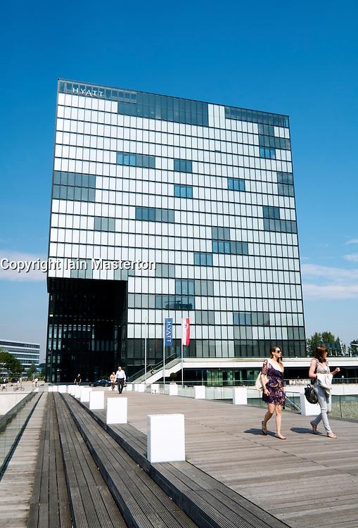 Modern Hyatt Regency design Hotel in Medienhafen or Media Harbour district of Düsseldorf Germany
