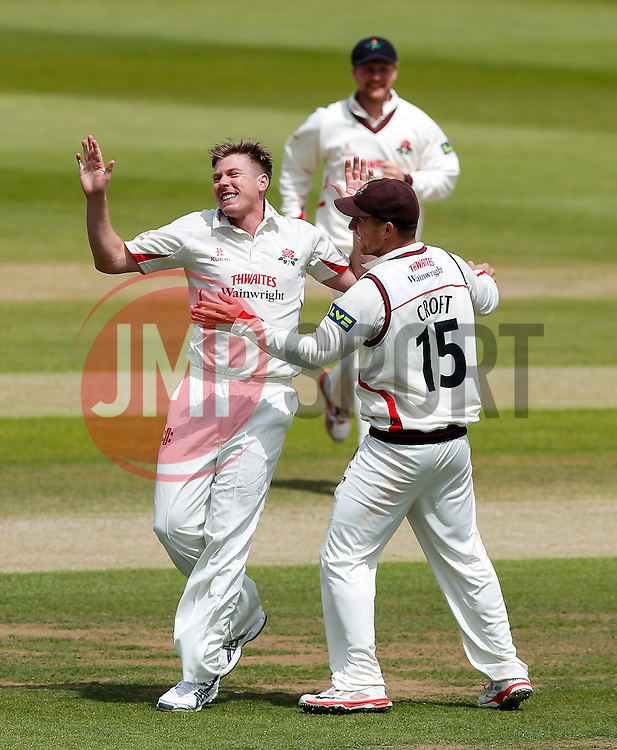 Bowler James Faulkner of Lancashire celebrates after Michael Klinger of Gloucestershire is Caught by Alex Davies of Lancashire for 62 - Photo mandatory by-line: Rogan Thomson/JMP - 07966 386802 - 10/06/2015 - SPORT - CRICKET - Bristol, England - Bristol County Ground - Gloucestershire v Lancashire - Day 4 - LV= County Championship Division Two.