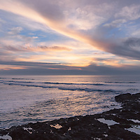 Streaking clouds of sunset, Cape Perpetua, Oregon