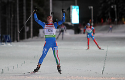 05.01.2012, DKB-Ski-ARENA, Oberhof, GER, E.ON IBU Weltcup Biathlon 2012, Staffel Herren, im Bild Lukas Hofer (ITA) jubelt über den 1. Rang, glücklich , Sieger // during relay Mens of E.ON IBU World Cup Biathlon, Thüringen, Germany on 2012/01/05. EXPA Pictures © 2012, PhotoCredit: EXPA/ nph/ Hessland..***** ATTENTION - OUT OF GER, CRO *****