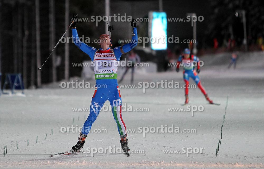 05.01.2012, DKB-Ski-ARENA, Oberhof, GER, E.ON IBU Weltcup Biathlon 2012, Staffel Herren, im Bild Lukas Hofer (ITA) jubelt über den 1. Rang, glücklich , Sieger // during relay Mens of E.ON IBU World Cup Biathlon, Thüringen, Germany on 2012/01/05. EXPA Pictures © 2012, PhotoCredit: EXPA/ nph/ Hessland..***** ATTENTION - OUT OF GER, CRO *****