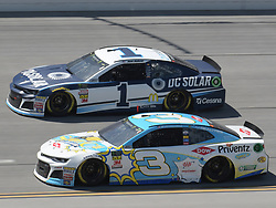 April 29, 2018 - Talladega, AL, U.S. - TALLADEGA, AL - APRIL 29: Jamie McMurray, Chip Ganassi Racing, Chevrolet Camaro DC Solar (1) and Austin Dillon, Richard Childress Racing, Chevrolet Camaro Dow Scooper Cat (3) race side by side during the Monster Energy Cup Series 49th Annual Geico 500 on April 29, 2018, at Talladega Superspeedway in Talladega, AL. (Photo by Jeffrey Vest/Icon Sportswire) (Credit Image: © Jeffrey Vest/Icon SMI via ZUMA Press)