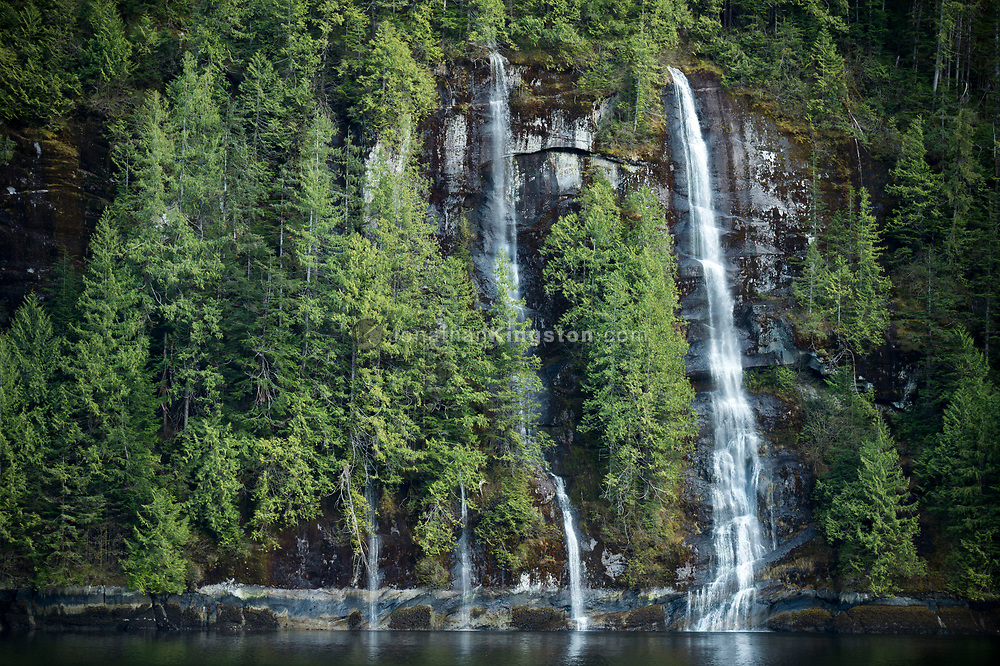 Waterfalls flow into Rudeyard Bay, Misty Fjords National Monument.