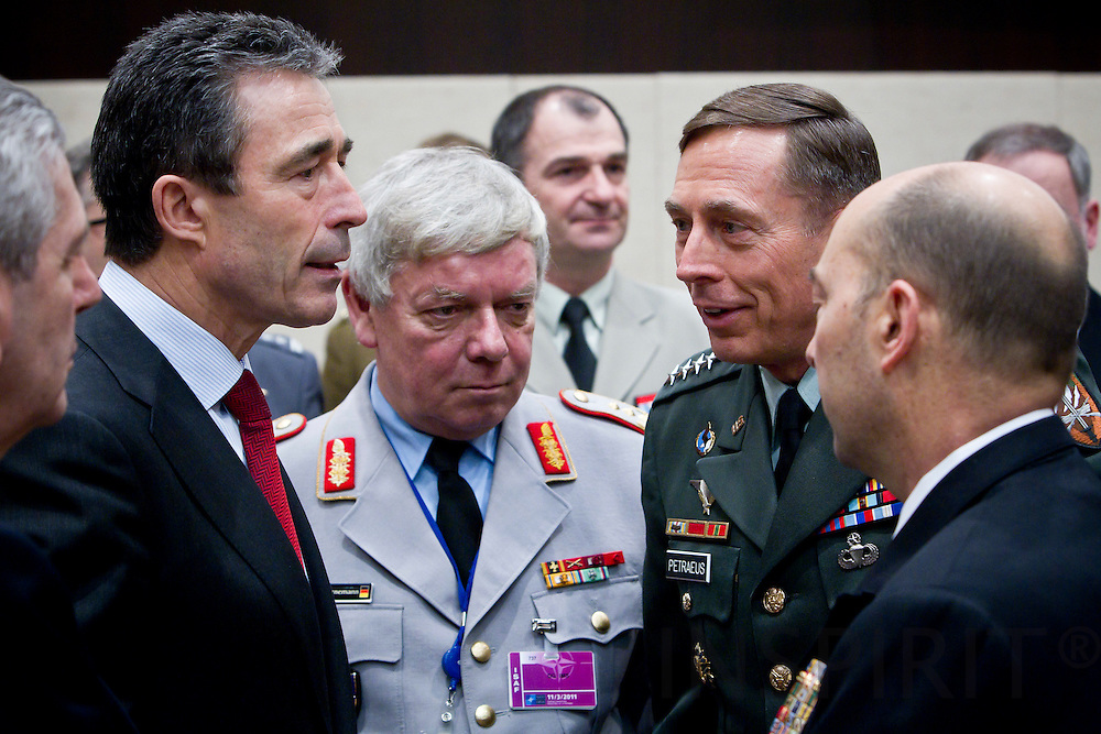 From left NATO Secretary General, Anders Fogh Rasmussen, Lt. Gen. J. Borneman, Director of IMS, General David Petraeus, Commander of ISAF, Admiral James Stavridis, Supreme Allied Commander Euope, at the beginning of the NATO Defence Ministers with non-NATO ISAF Contributing Nations in Brussels Friday 11 March 2011. PHOTO: ERIK LUNTANG / INSPIRIT Photo.