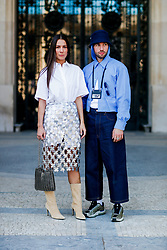 Street style, Alice Barbier and JS Roques arriving at Paco Rabanne spring summer 2019 ready-to-wear show, held at Grand Palais, in Paris, France, on September 27th, 2018. Photo by Marie-Paola Bertrand-Hillion/ABACAPRESS.COM