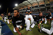 NEW TAIPEI CITY, TAIWAN - NOVEMBER 15: Members of Team New Zealand perform the Haka on the field before Game 2 of the 2013 World Baseball Classic Qualifier against Team Chinese Taipei at Xinzhuang Stadium in New Taipei City, Taiwan on Thursday, November 15, 2012.  Photo by Yuki Taguchi/WBCI/MLB Photos