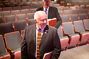 06 OCTOBER 2011 - MESA, AZ: State Sen Russell Pearce (CQ) walks through the auditorium before the debate between Jerry Lewis and Russell Pearce in Mesa Thursday. Lewis is challenging Pearce in Pearce's recall election after residents of Pearce's district signed petitions calling for the recall the President of the Arizona State Senate.  PHOTO BY JACK KURTZ