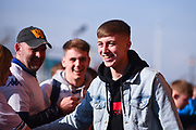 Jack Clarke of Leeds United (47) arrives at the ground before the EFL Sky Bet Championship match between Leeds United and Bolton Wanderers at Elland Road, Leeds, England on 23 February 2019.