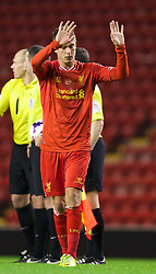 ANFIELD, ENGLAND - Friday, May 2, 2014: Liverpool's Kristoffer Peterson looks dejected as his side lose 1-0 to Manchester United during the Under 21 FA Premier League Semi-Final match at Anfield. (Pic by David Rawcliffe/Propaganda)