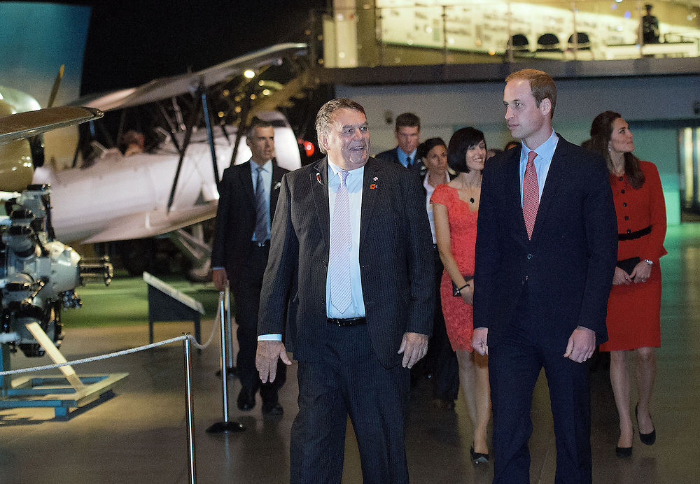 Britain's Prince William with Peter Townsend CEO of Canterbury Chamber of Commerce at the Wigram Airbase Museum, Christchurch, New Zealand, Monday, April 14, 2014.  Credit:SNPA / AFP, Marty Melville  POOL