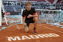 May 13, 2018 - Madrid, Madrid, Spain - Alexander Zverev of Germany poses with the trophy after winning the tournament in his final match against Dominic Thiem of Austria during day nine of the Mutua Madrid Open at the Caja Magica on May 13, 2018 in Madrid, Spain  (Credit Image: © David Aliaga/NurPhoto via ZUMA Press)