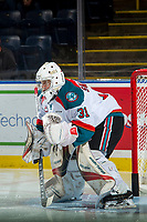 KELOWNA, CANADA - SEPTEMBER 29: Brodan Salmond #31 of the Kelowna Rockets warms up in net against the Everett Silvertips on September 29, 2017 at Prospera Place in Kelowna, British Columbia, Canada.  (Photo by Marissa Baecker/Shoot the Breeze)  *** Local Caption ***