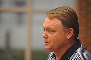 Mississippi football coach Houston Nutt answers questions about incoming players in Oxford, Miss. on Thursday, August 4, 2011.