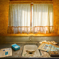 Abandoned Beck Mine cabin kitchen located in the Ivanpah Range of the Mojave National Preserve