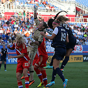 Russia goalkeeper Elvira Todua (1) punches the ball in the box during an international friendly soccer match between the United States Women's National soccer team and the Russia National soccer team at FAU Stadium on Saturday, February 8, in Boca Raton, Florida. The U.S. won the match by a score of 7-0. (AP Photo/Alex Menendez)