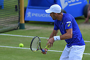 Steve Johnson (USA) approaches the net during the semi-finals of Aegon Open at the Nottingham Tennis Centre, Nottingham, United Kingdom on 24 June 2016. Photo by Martin Cole.